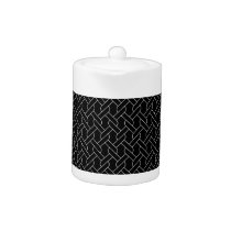 black and white geometrical pattern modern print teapot