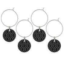 black and white geometrical pattern modern print wine glass charm