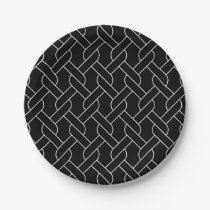 black and white geometrical pattern paper plate