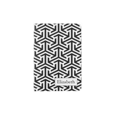 black and white geometrical pattern passport holder