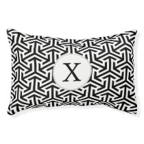 black and white geometrical pattern pet bed