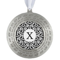 black and white geometrical pattern pewter ornament