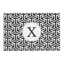 black and white geometrical pattern placemat