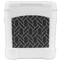 black and white geometrical pattern rolling cooler