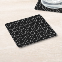 black and white geometrical pattern square paper coaster