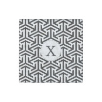 black and white geometrical pattern stone magnet