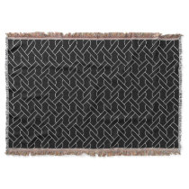 black and white geometrical pattern throw blanket