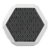 black and white geometrical pattern white bluetooth speaker
