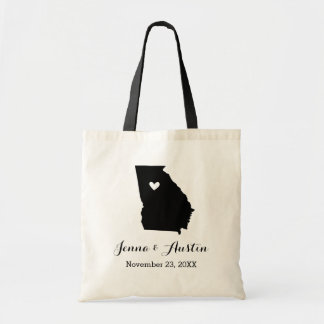 Black and White Georgia Wedding Welcome Tote Bag