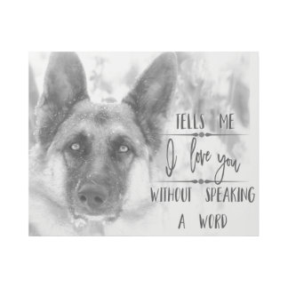 Black and White German Shepherd Typography Gallery Wrap