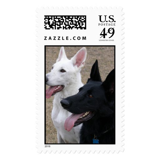 Black and White German Shepherds Stamps