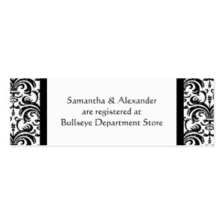 Black and White Gift Registry Insert Cards Mini Business Card