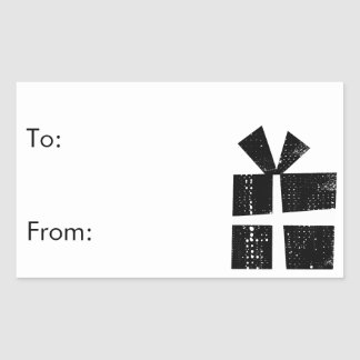 black and white gift tags rectangular sticker