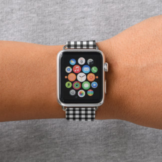 Black And White Gingham Check Pattern Apple Watch Band