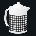 "Black And White Gingham Check Pattern Teapot<br><div class=""desc"">Black And White Gingham Check Pattern</div>"