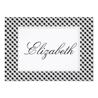 Black and White Gingham Check Plaid Pattern Card