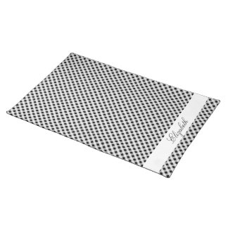 Black and White Gingham Check Plaid Pattern Cloth Placemat