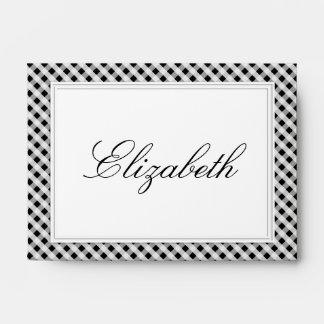 Black and White Gingham Check Plaid Pattern Envelope