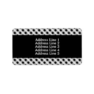 Black and White Gingham Check Plaid Pattern Label
