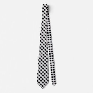 Black and White Gingham Check Plaid Pattern Neck Tie