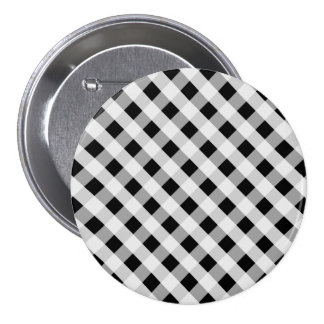 Black and White Gingham Check Plaid Pattern Pinback Button