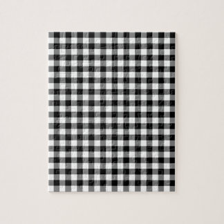 Black and White Gingham Checks Jigsaw Puzzle