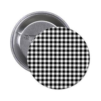 Black and White Gingham Checks Pinback Button