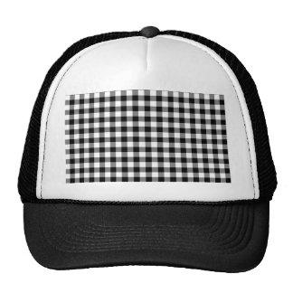 Black and White Gingham Checks Trucker Hat