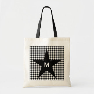 Black and White Gingham Customize Monogram Star Tote Bag