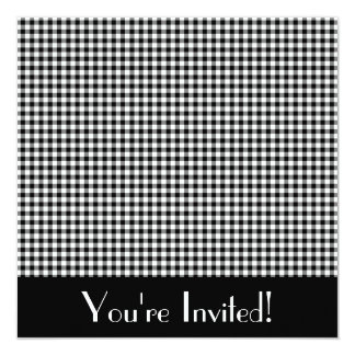 Black and White Gingham Invitation