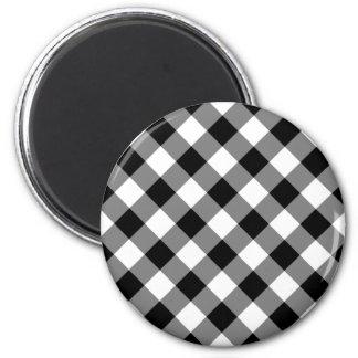 Black and White Gingham Fridge Magnets