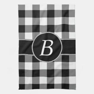 Black And White Gingham Monogram Kitchen Towel at Zazzle