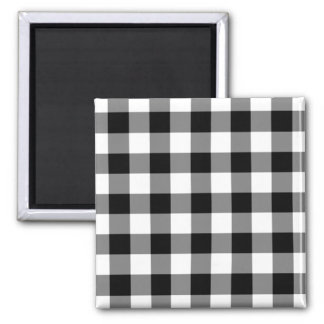 Black and White Gingham Pattern 2 Inch Square Magnet