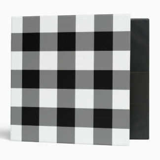 Black and White Gingham Pattern 3 Ring Binder