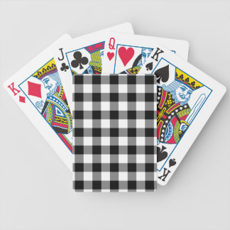 Black and White Gingham Pattern Bicycle Playing Cards