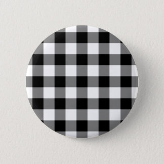 Black and White Gingham Pattern Button
