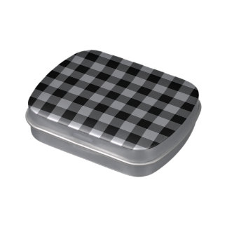 Black and White Gingham Pattern Candy Tin