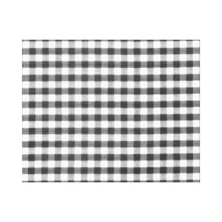 Black and white gingham pattern canvas print