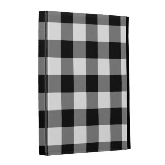 Black and White Gingham Pattern iPad Cases