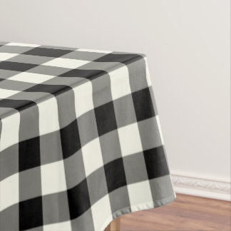 Black and White Gingham Pattern Check Tablecloth