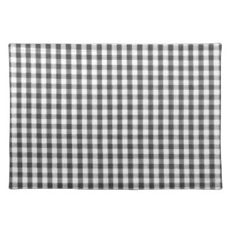 Black and white gingham pattern cloth placemat