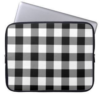 Black and White Gingham Pattern Computer Sleeve