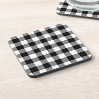 Black and White Gingham Pattern Drink Coaster