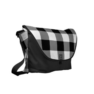 Black and White Gingham Pattern Courier Bag
