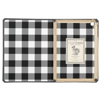 Black and White Gingham Pattern Cover For iPad Air