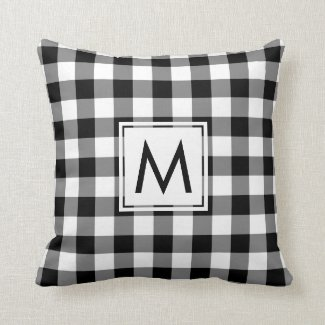 Black and White Gingham Pattern, Custom Monogram Throw Pillow