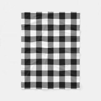 Black and White Gingham Pattern Fleece Blanket