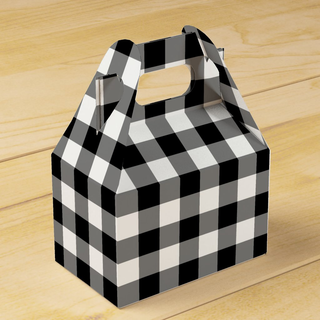 Black and White Gingham Pattern Gable Favor Box