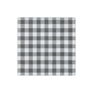 Black and White Gingham Pattern Stone Magnet