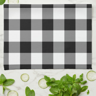 Black and White Gingham Pattern Hand Towel